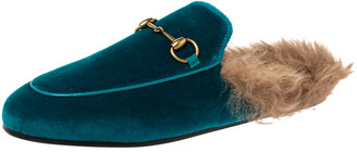 Gucci Green/Brown Velvet and Fur Lined Princetown Flat Mule Size 38