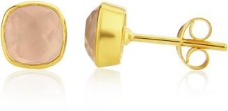 Auree Jewellery Brooklyn Gold & Rose Quartz Cushion Stud Earrings