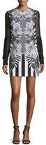 Just Cavalli Printed Dress W/Sheer Sleeves, Black/White