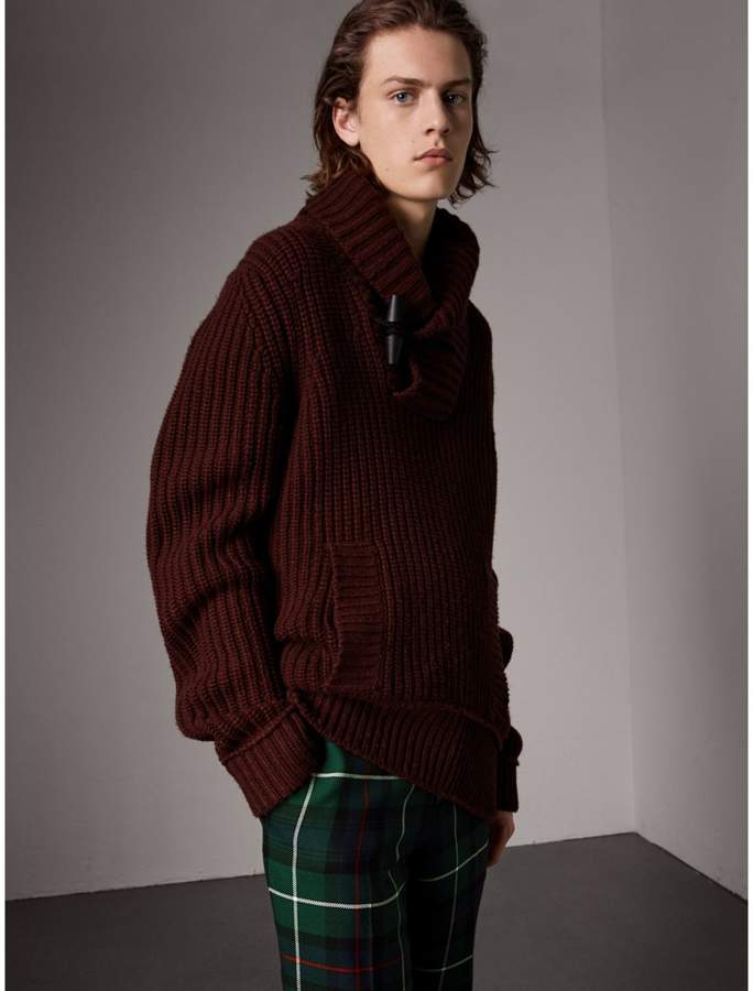Burberry Shawl Collar Wool Cashmere Sweater