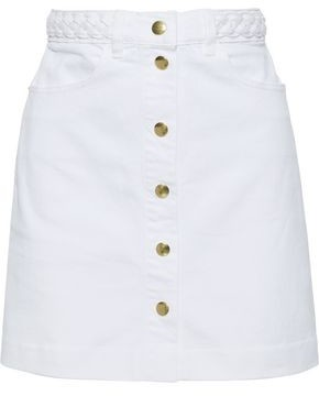 Frame Claire Braided Denim Mini Skirt