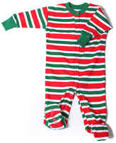 New Jammies Green & Red Stripe Organic Footie - Infant