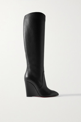 Christian Louboutin Civiliza 100 Textured-leather Knee Boots - Black