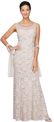 Alex Evenings Long Sleeveless Dress with Beaded Neckline and Matching Shawl (Beige) Women's Dress