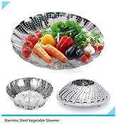 Stainless Steel Vegetable Steamer Basket Foldable Food Vegetable Steamers Basket ,Folding Collapsible Basket for Various Size Pots,with Non-slip Safety Foot (S-23cm- No-Central Ring)