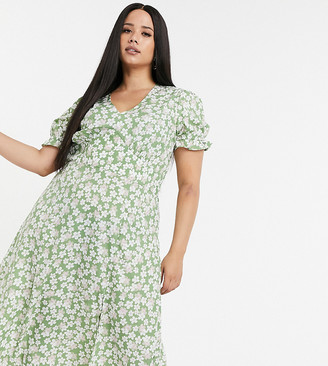 Influence Plus midi dress in sage floral