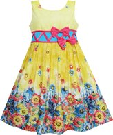 Sunny Fashion FS42 Girls Dress Sunflower Garden Flower Print Cotton