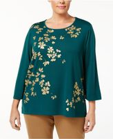 Alfred Dunner Plus Size Emerald Isle Collection Metallic-Print Studded Top