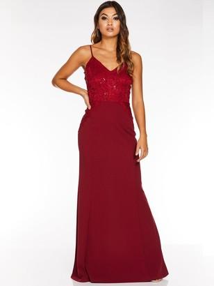 Quiz Scuba Crepe Sequin Lace Strappy Maxi Dress - Berry