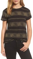 Lucky Brand Women's Metallic Stripe Tee
