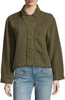 Current/Elliott Frayed Linen-Blend Jacket, Dark Olive