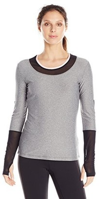 X by Gottex Women's Colorblock Long Sleeve Top with Back Zipper Pocket