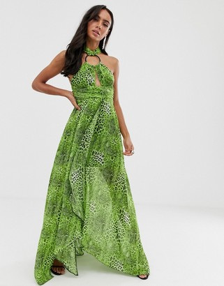 ASOS DESIGN maxi dress in neon snake print with circle trim detail