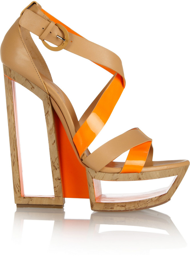 Casadei Patent leather-trimmed wedge sandals