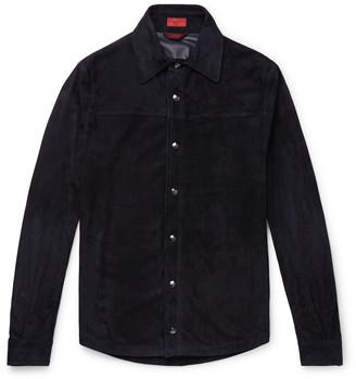 Isaia Slim-Fit Suede Shirt Jacket