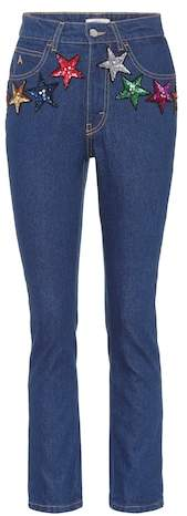 ATTICO sequinned high-waisted jeans