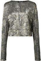 Sally Lapointe - metallic flower motif blouse - women - Polyamide/Polyester/Viscose - 2