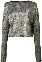 Sally Lapointe metallic flower motif blouse