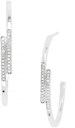 Carriere Sterling Silver Pave Diamond Bypass Hoop Earrings - 0.11 ctw
