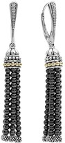 Lagos 18K Gold and Sterling Silver Caviar Hematite Tassel Earrings