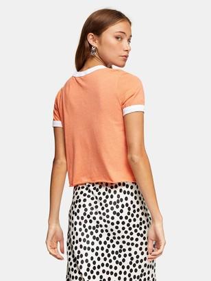 Topshop Hand Stitch Ringer T-shirt - Orange