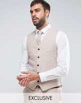 Noak Super Skinny Wedding Waistcoat In Fleck Wool