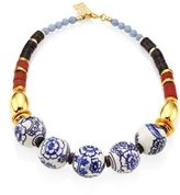 Lizzie Fortunato The New Blue III Porcelain, Angelite & Agate Beaded Necklace
