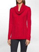 Calvin Klein Rib Knit Stitch Cowl Neck High Low Sweater