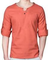 Hzcx Fashion Men's Slim Fit Cotton Blends Linen Pullovers Long Sleeve Shirts SJXZ155-M102-35-ORE-US L(42-44) TAG 5XL