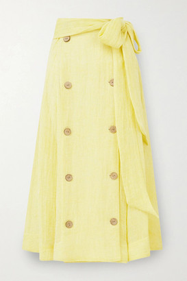Lisa Marie Fernandez Diana Belted Linen-blend Gauze Midi Skirt - Yellow