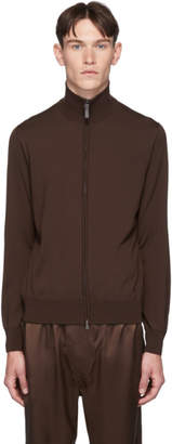 Brioni Brown Wool Blouson Sweater