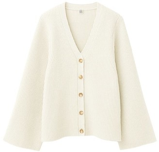 Totême Flared-sleeve Ribbed-knit Wool-blend Cardigan - Cream
