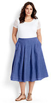 Classic Women's Plus Size Linen A-line Skirt-Clear Coral