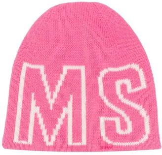 Msgm Kids Jacquard Logo Knit Beanie