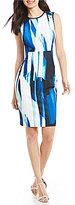Calvin Klein Printed Scuba Crepe Sheath Dress