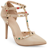 Wild Diva Natural Adora Studded T-Strap Pumps