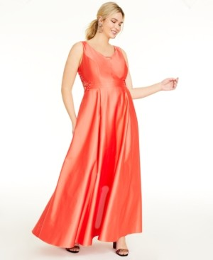 City Studios Trendy Plus Size Embroidered-Cutout Gown