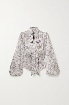 The Vampire's Wife Total Mayhem Pussy-bow Floral-print Silk-satin Blouse - Off-white
