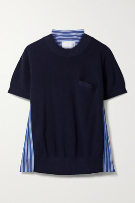 Sacai Paneled Knitted And Pleated Striped Cotton-poplin T-shirt - Navy