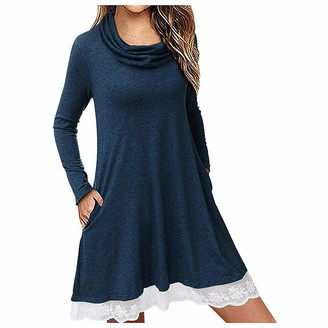 KPILP Women's Long Sleeve Casual Loose Cowl Neck Swing Tunic Dress with Pockets Ladies Daily T Shirt Mini Dress Patchwork Solid Color Lace Hem Loose fit Summer Dresses(Blue L)