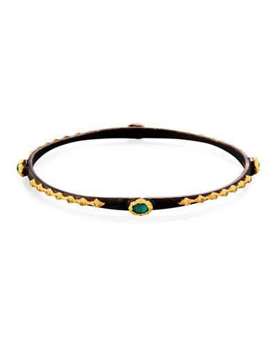 Armenta Old World Midnight Emerald Triplet Eternity Bangle Bracelet