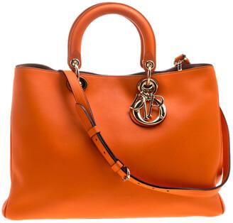 Christian Dior Orange Leather Large Diorissimo Shopper Tote