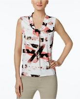 Calvin Klein Petite Twist-Neck Printed Shell
