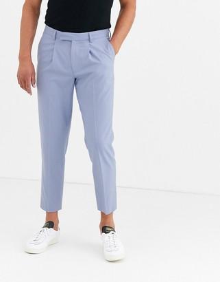 ASOS DESIGN slim cropped smart pants in blue