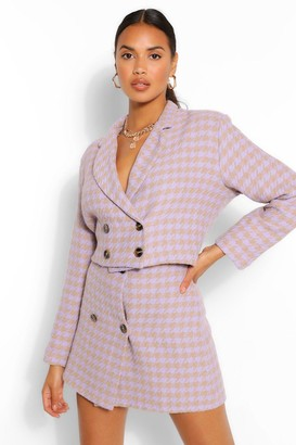 boohoo Double Breasted Dogstooth Crop Jacket
