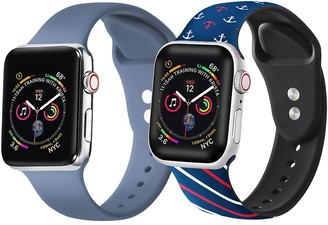 Posh Tech Atlantic Blue/Nautical Apple Watch Replacement Band - Set of 2