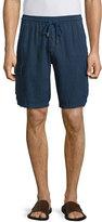 Vilebrequin Baie Solid Linen Cargo Shorts, Navy