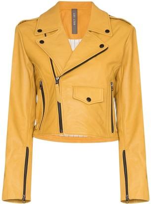 Isabella Collection Lot Lthr grained-leather biker jacket