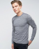 Asos Muscle Fit Cotton Crew Neck Sweater in Gray