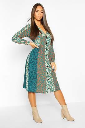 boohoo Leopard Print Button Through Midi Dress
